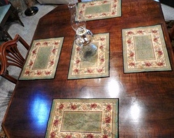 Tapestry Placemats- Set of 5 Elegant Tapestry Place Mats- Roses- Green-Black-Gold-Burgandy- Rich Colors- Nice Workmanship- Victorian Decor