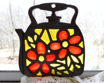 Metal Multicolored  TEAPOT Trivet-Funky Yellow & Orange Stained Glass Flowers-Lovely Light Reflector-Retro Home Decor-Vintage Kitchen Decor