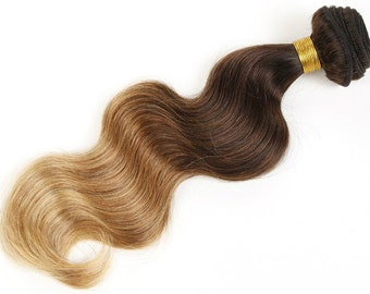 ON SALE Ombre 3 Tone Brown to Blonde T1B/30/27 Body Wave Virgin Remy Brazilian Human Hair Extensions Weave Weft Bundle