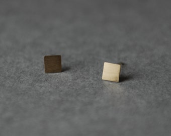 Brushed Matte Square Gold Stud Earring, Stud- Gold plated over Sterling Silver