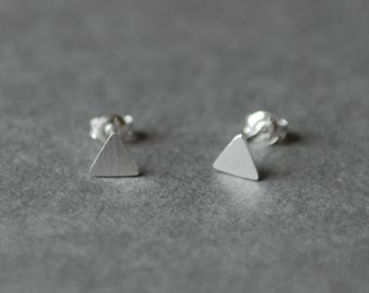Silver Brushed Matte Triangle Stud Earrings- Sterling Silver