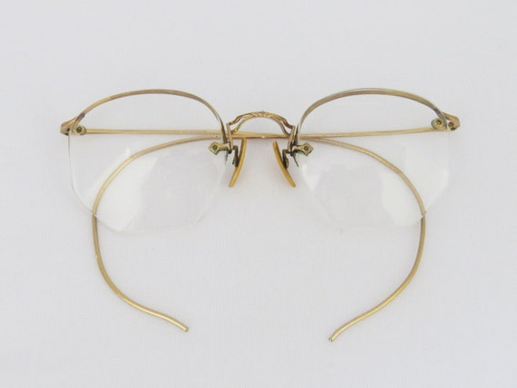 Rimless Glasses In Style : Reserved for Noah Antique frame in 1/10-12K GF rimless glasses