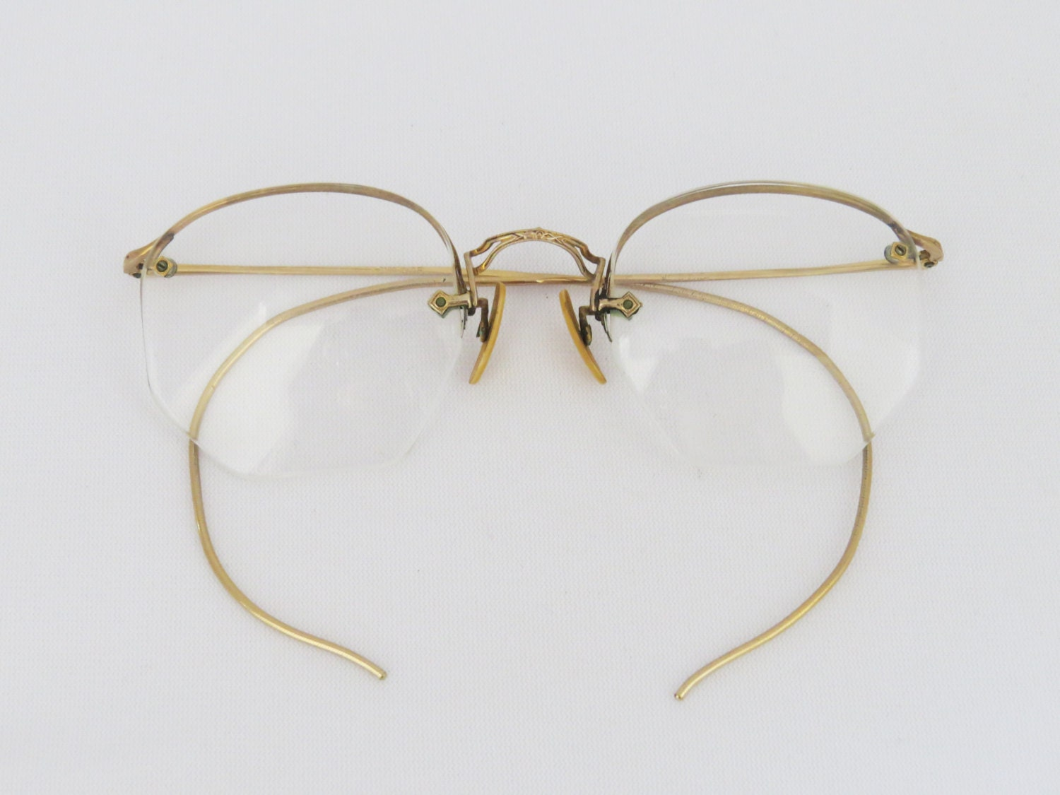 Rimless Glasses Old : Reserved for Noah Antique frame in 1/10-12K GF rimless glasses
