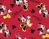 Minnie Mouse Flannel Fabric by the Yard