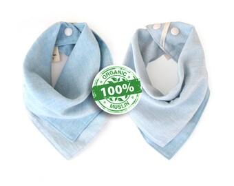 Organic Bandana Bib, Sky Blue, Premium 100% Organic Cotton Muslin Baby Bib, Reversible, Luxuriously Soft, Adjustable Neck Size with Snaps