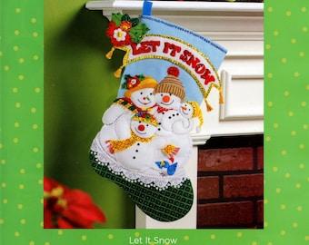 "Let It Snow ~ 18"" Bucilla Felt Christmas Stocking Kit #86650 Snowman Family Baby DIY"