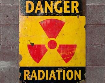 Danger Radiation Nuclear Symbol Steel Sign - #50313