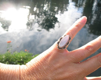 Vintage Mother of Pearl and Sterling Silver Ring Size 4.75