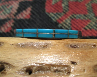 Sterling and Turquoise Inlay Cuff Bracelet