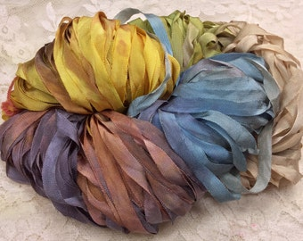 "Hand dyed Ribbon 1/4"" rayon 25 yds color marble yarn trim embellishment mixed media great adirondack"