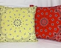 Bandana Throw Pillows with Zipper 18 x 18 Genuine Yellow Bandana Custom Colors