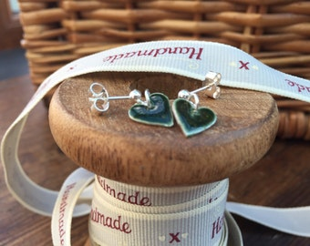Fine Silver & Green Glass Enamel Heart Studs