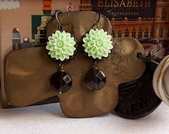 Vintage inspired Smoke quartz earrings Mint green floral dangling earrings