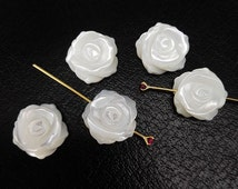 10pcs 10mm White MOP Rose Flower Beads White Mother of Pearl Carved Rose Flower Beads
