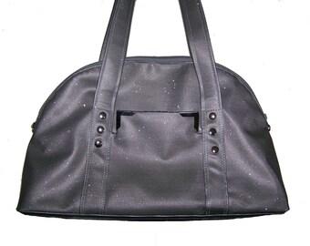 Grey leather Swarovski handbag. hand made