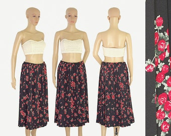 black red roses flared pleated midi skirt retro vintage 80s 1980s Leslie Fay size womens MEDIUM to LARGE