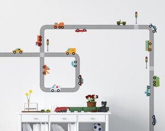 Wall decal set ROADS AND CARS,quality vinyl wall sticker for kids room,nursery,vinyl sticker cars roads,construction wall decal