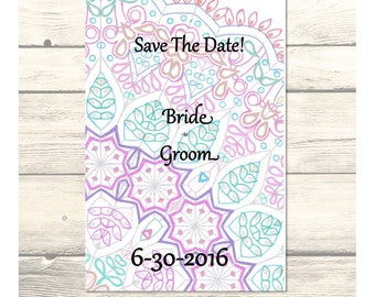 "Delicate Jewels Lace Wedding ""Save the Date"" Cards Customizable - Printable Digital Download"