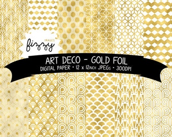 12 x  Art Deco Great Gatsby 1920s 1930s Shiny Gold Foil Patterned Digital Paper Clipart. MPS0041