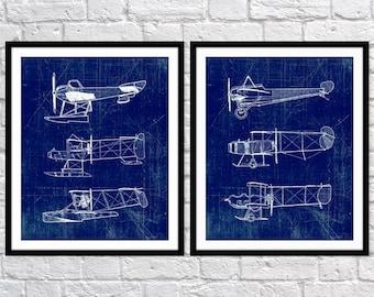 Airplane Art Print, Plane Art, Blueprint Wall Art, Aviation Set of Two 5x7, 8X10, 11x14 Nursery Decor, Boys Wall Decor