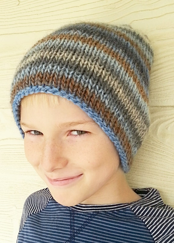Knitting Patterns For Winter Hats : KNITTING PATTERN Knit Hat Warm Knit Beanie Winter Hat