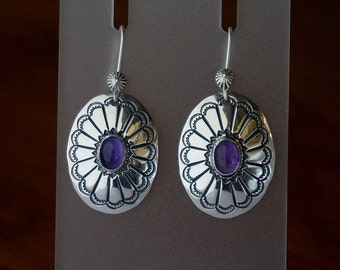Amethyst Coin Silver Concho  Earrings ...Hand Stamped US Silver Dimes ... Ready to Ship