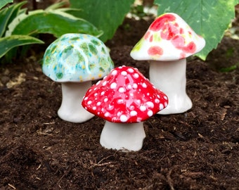 Three hand crafted ceramic toadstools - T122