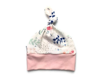 Baby girl hat, topknot hat,  baby beanie, top knot baby hat, newborn baby hat, newborn hat, floral baby hat, pink floral baby girl hat