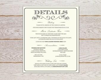 Rustic Elegant Wedding Invitation- Important Information card