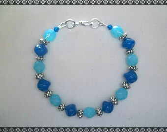 blue bracelet, crystal bracelet, light blue bracelet, silver