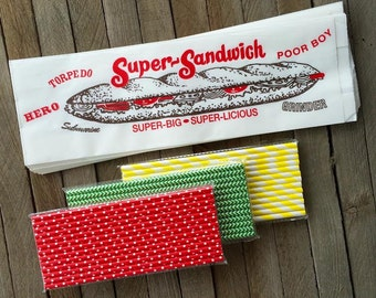 Submarine Sandwich Paper Bags- 50 Ct. and Red, Yellow and Green Polka Dot, Stripe and Chevron Paper Straws -75 Ct.  Picnic Supply
