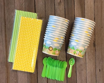 Mini Ice Cream Kit with 24 -4 Ounce Animal Themed Cups, 24 Mini Green Spoons and 50 Paper Straws - Safari Party Supply  Baby Shower Supply