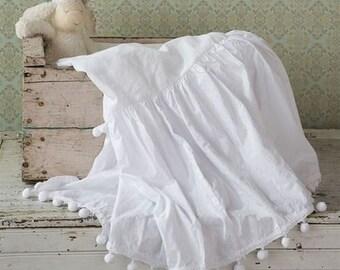 Shabby Chic White Crib Skirt