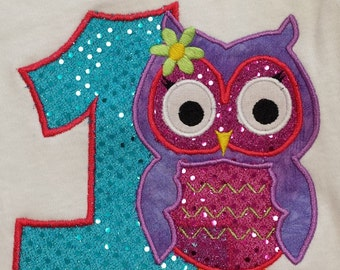 Personalized Owl Shirt, first Birthday, Birthday Shirt, Owl, Emboirdered Owl Shirt