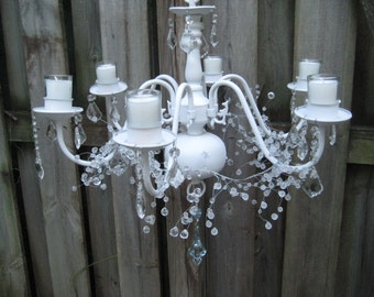 White candle chandelier, crystal chandelier, upcycled, repurposed chandelier, ornate, votive candles, shabby cottage chic decor, 1096