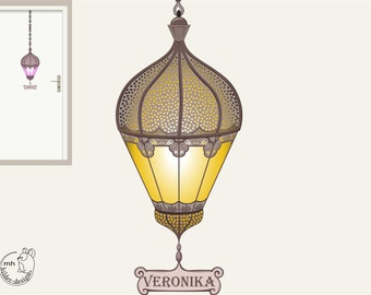 """Wall Decal """"Oriental lantern"""" color choice wallsticker girl morocco lamp Moroccan door sign wall lamp orient"""