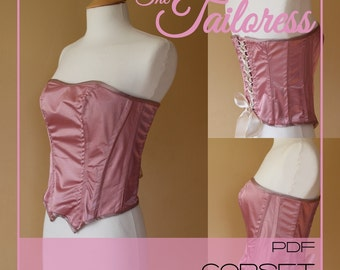 Corset PDF Sewing Pattern in sizes 4-18
