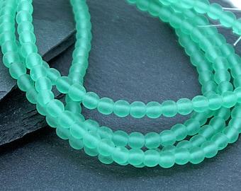 Matt Emerald Green 4mm Round Czech Glass Beads x 100