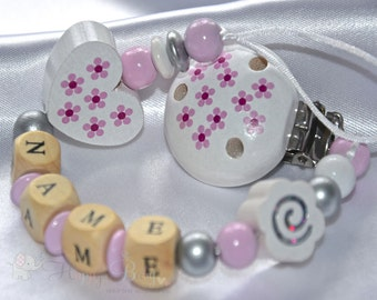 DAISY White Pink *** Personalised Wooden Dummy Clip / Chain / Holder / Pacifier