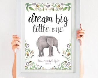 Dream Big Little One Personalised Elephant Print newborn print for baby boy or baby girl Nursery decor wall new baby print