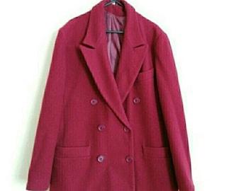 House of Fraser 1980's vintage coat wool coat warm coat winter coat size 14 red womans ladies coat double breasted coat