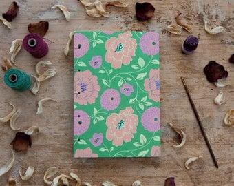 Hand Bound Sketchbook / Journal / Notebook - A5 - Coptic Stitch - Green & Pink Floral -  Travel / Scrapbook - Peach - Hand Stitched