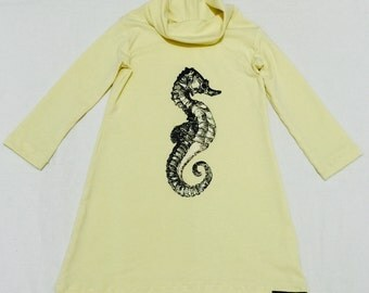 Girls dress 5-6 T, Jersey knit cotton, with seahorse