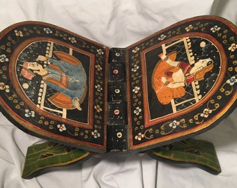 Vintage Handpainted Folding Book Stand