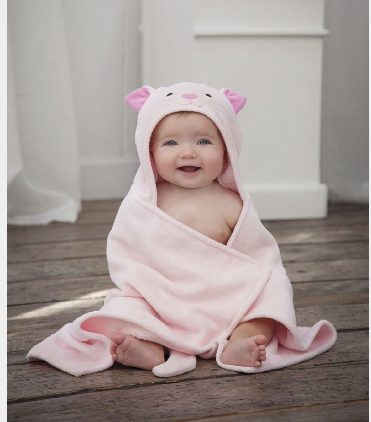 Personalized Baby Hooded Towel Kitty / Bath Wrap Perfect