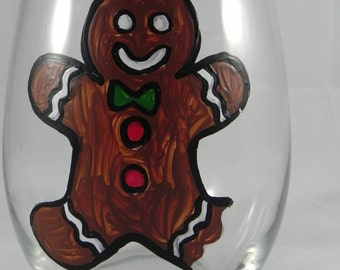 Christmas Gingerbread Man Bite Me Hand Painted Stemless Wine Glass
