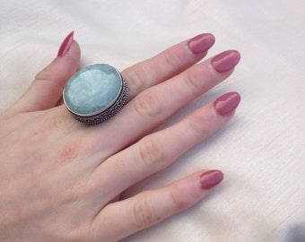 VALENTINES DAY Sale: Beautiful Blue Amazonite Ring-Blue Amazonite Ring-Amazonit -Blue Agate Ring-Vintage Amazonite Ring - Size 7.75