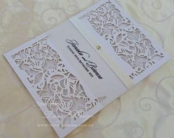 Laser cut wedding Invitation set. 24 pocket invitations. Lasercut invitation rsvp card. 60th Anniversary, birthday, Christening invitation.