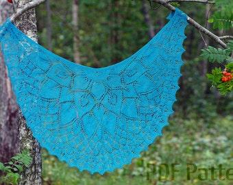PDF knitting pattern, Flower Princess shawl pattern, Lacy shawl pattern