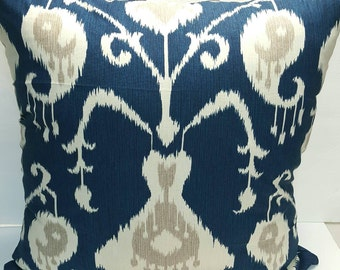 IKAT Print Indoor Magnolia Home Fashions Java Navy, Ivory, Grey Decorative Throw Pillow Cover with Hidden Zipper
